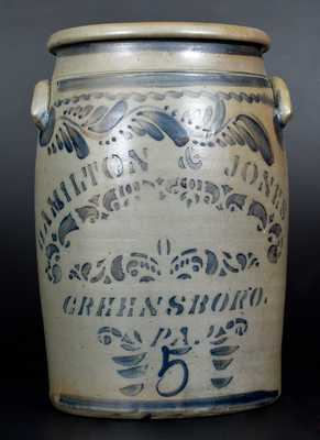 5 Gal. HAMILTON & JONES / GREENSBORO, PA Stoneware Jar