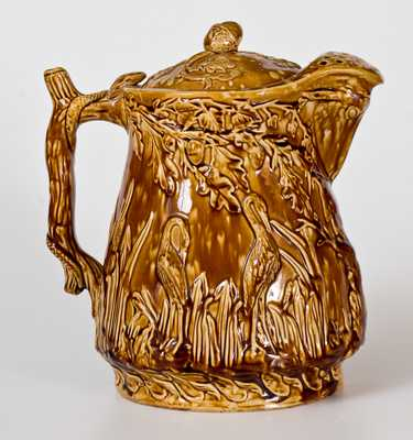 Rockingham Herons in Bullrushes Covered Ale Pitcher att. Bennett Pottery, Baltimore, 1869-74