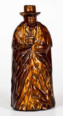 Rockingham-Glazed Coachman Bottle, Lyman, Fenton & Co., Bennington, VT, c1849-58