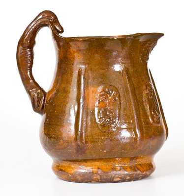 Unusual Redware Hound-Handled Pitcher w/ Inscribed Signature, probably Adams Co, PA