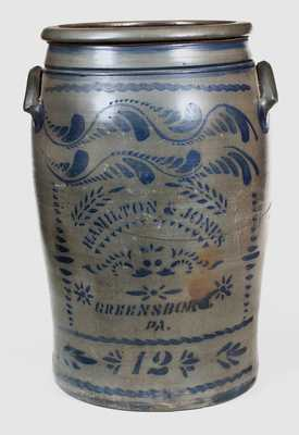 12 Gal. HAMILTON & JONES / GREENSBORO, PA Stoneware Jar
