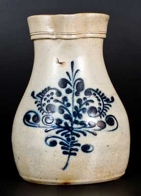 2 Gal. Stoneware Pitcher with Slip-Trailed Floral Decoration