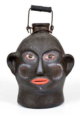 Rare Painted African-American Woman Face Jug