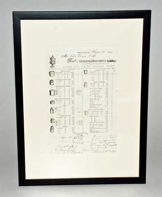 Framed Ballard & Brothers, Burlington, VT Stoneware Price List, Dated Sept. 20, 1853