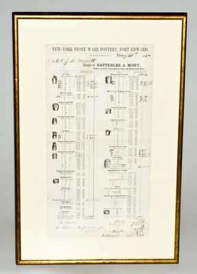 Framed Satterlee & Mory, New-York Stone Ware Pottery, Fort Edward, NY Stoneware Price List, 1875