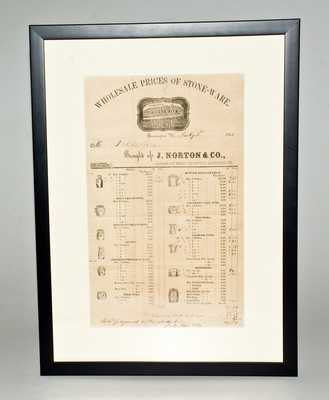 Framed J. Norton & Co, Bennington, VT, Stoneware Price List, July 2, 1860