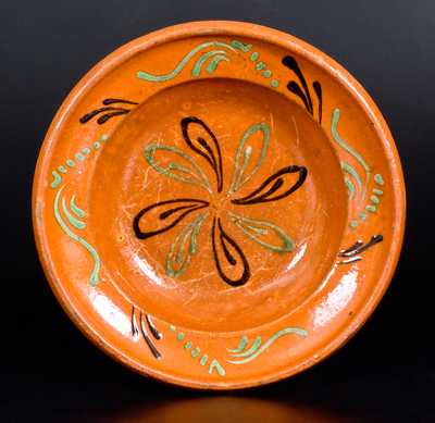 Exceptional North Carolina Moravian Redware Dish, 1780-1810
