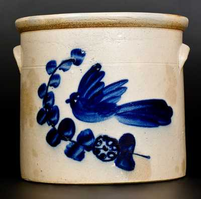 3 Gal. N. A. WHITE & SON / UTICA, NY Stoneware Crock with Bold Bird Decoration