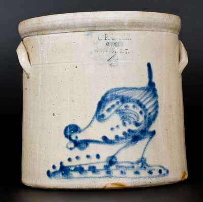 4 Gal. RONDOUT, NY Stoneware Advertising Crock with Pecking Chicken Decoration