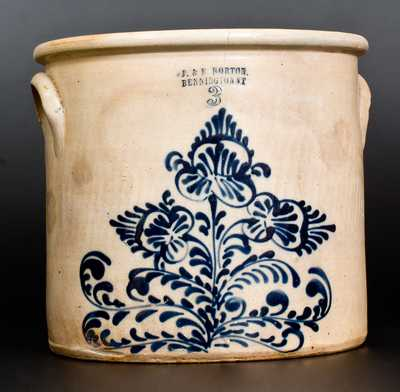 3 Gal. J. & E. NORTON / BENNINGTON, VT Stoneware Crock w/ Fine Slip-Trailed Floral Decoration