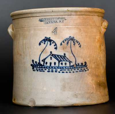 4 Gal. A. O. WHITTEMORE / HAVANA, NY Stoneware Crock with House Decoration