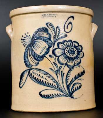 6 Gal. JOHN BURGER / ROCHESTER Stoneware Crock with Fine Floral Decoration