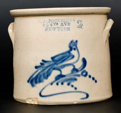 Stoneware Crock with Bird Decoration and NEW YORK CITY Advertising