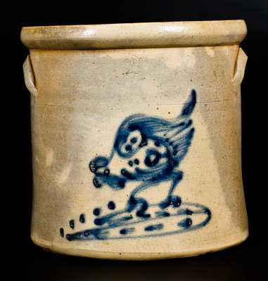 2 Gal. NY Stoneware Crock with Pecking Chicken Decoration