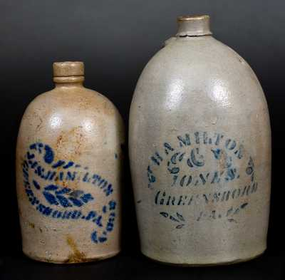 Lot of Two: GREENSBORO, PA Stoneware Jugs by HAMILTON & JONES and JAS. HAMILTON & CO