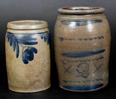 Lot of Two: Decorated Stoneware Jars, Baltimore, MD and Western PA Origin