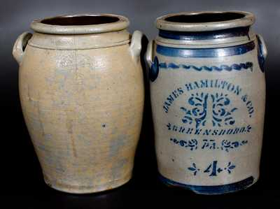 Lot of Two: 4 Gal. Stoneware Jars by HAMILTON / GREENSBORO, PA