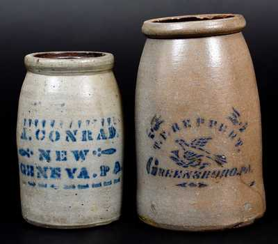 Lot of Two: Western PA Stoneware Canning Jars