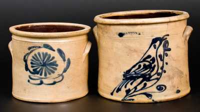 Lot of Two: Stoneware Jars incl. BINGHAMTON, NY with Bird Decoration