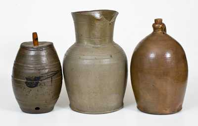 Lot of Three: Stoneware incl. Jug Marked GRUBES' WHISKY, Keg, and 2 Gal. Pitcher