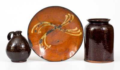 Lot of Three: Redware incl. Slip-Decorated Plate, Jar, and Small Jug