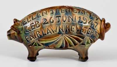 Unusual FAIRLAWN, NEW JERSEY Redware Pig Bank, Scottish Origin