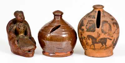 Lot of Three: Redware Articles incl. Decoupage Bank and Glazed Bank