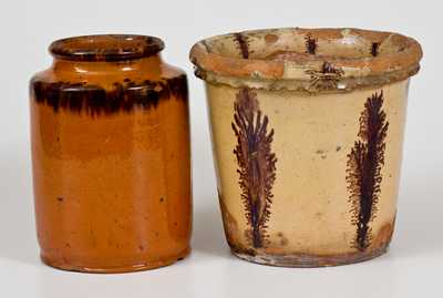 Lot of Two: Redware Flowerpot with Seaweed Decoration and Redware Jar with Sponged Manganese