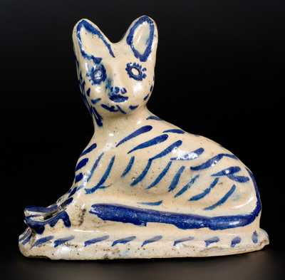 Tin-Glazed Cat Figure