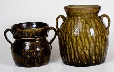 Lot of Two: Squat Double-Handled Crawford County, Georgia Stoneware Jars