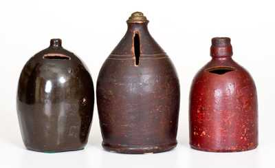 Lot of Three: Stoneware and Redware Jug Banks
