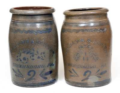 Lot of Two: 2 Gal. WILLIAMS & REPPERT / GREENSBORO, PA Stoneware Jars