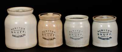 Lot of Four: DEMUTH'S CELEBRATED SNUFF / LANCASTER, PA Stoneware Jars