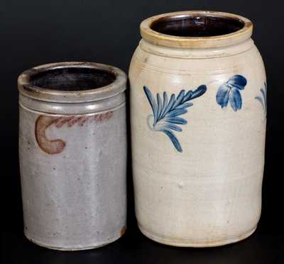 Lot of Two: Decorated Stoneware Jars, One Marked S. BELL & SON / STRASBURG, VA