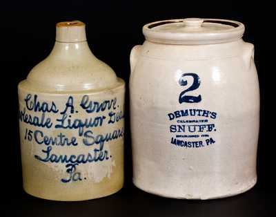 Lot of Two: Lancaster, Pennsylvania, Advertising Stoneware
