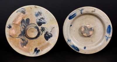 Lot of Two: Decorated Stoneware Lids