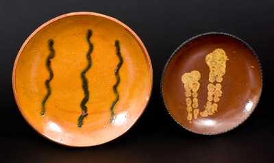 Lot of Two: Slip-Decorated Redware Plates