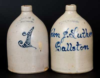 Lot of Two: 1 Gal. Stoneware Jugs, TROY, N.Y. POTTERY and