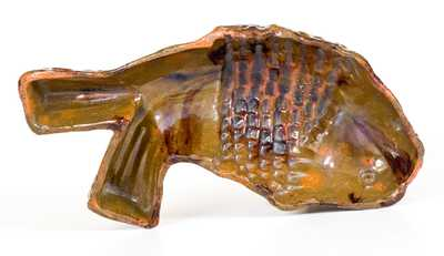 Fine Pennsylvania Redware Fish Mold with Manganese Decoration