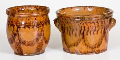 Lot of Two: Redware Jars with Matching Sponged Manganese Decoration