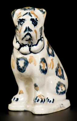 Unusual Two-Color Spongeware Boxer Dog Figure, Crooksville, Ohio, Origin, late 19th century
