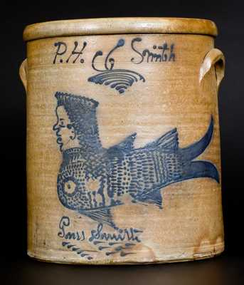 Exceptional P. H. Smith, Akron, Ohio Stoneware Jar w/ Detailed Mermaid Decoration