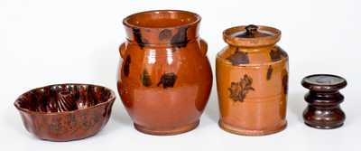 Lot of Four: Glazed Redware incl. Two Jars, Cake Mould, and Stove Lift