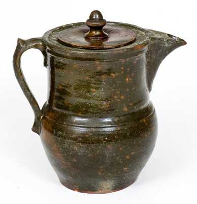 Unusual Pewter-Shaped NC Redware Coffee Pot