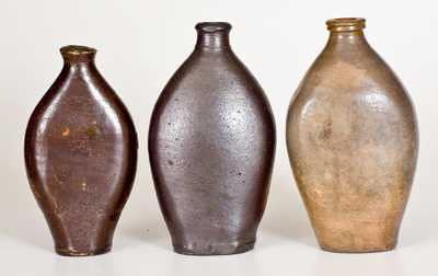 Lot of Three: Stoneware Flasks, Early 19th Century