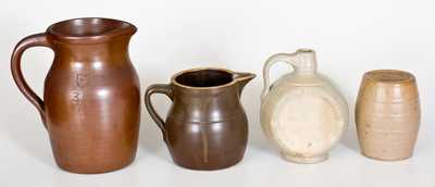 Lot of Four: Molded Stoneware incl. Dated Jug and Bank, and Two Chemical Stoneware Pitchers