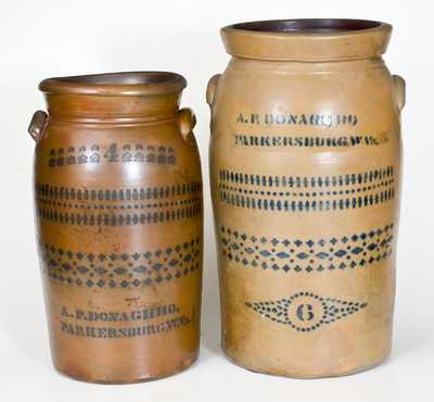 Lot of Two: A. P. DONAGHHO / PARKERSBURG, W. VA 4 Gal. and 6 Gal. Stoneware Churns
