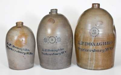 Lot of Three: A. P. DONAGHHO / PARKERSBURG, W. VA 1, 2, and 3 Gal. Stoneware Jugs