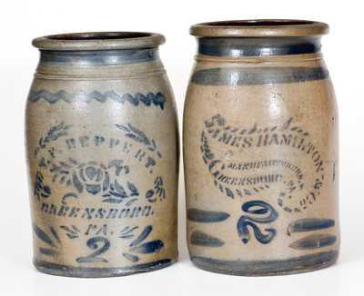 Lot of Two: Greensboro, PA 2 Gal. Stoneware Jars