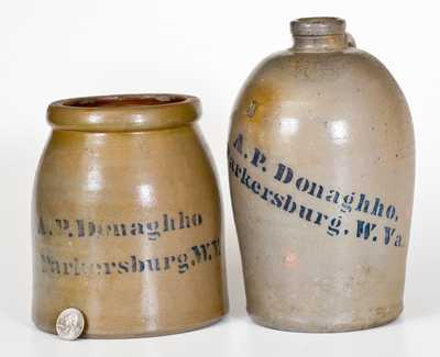 Lot of Two: A. P. DONAGHHO / PARKERSBURG, W. VA Squat Stoneware Jar and Jug